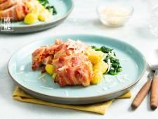 Wat Eten We Vandaag: Kip met pesto en spek uit de oven