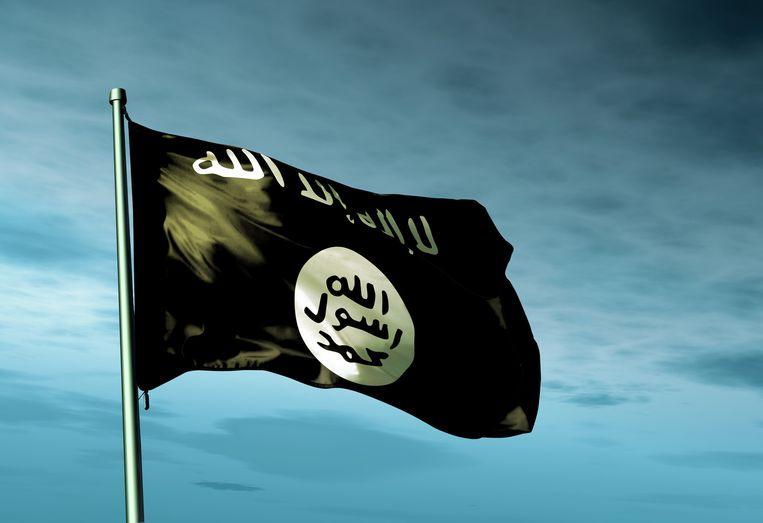 Een IS-vlag wappert in de wind.