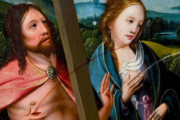 Lichaam in de Middeleeuwen. Melk en bloed_ detail van Triptiek met de kruisiging (..). The Phoebus Foundation. Beeld Marco Sweering