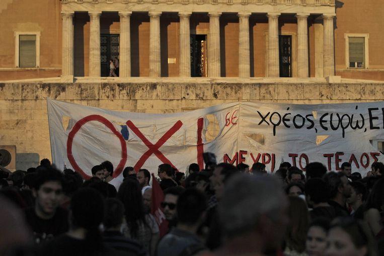 Demonstratie in Athene. Beeld null