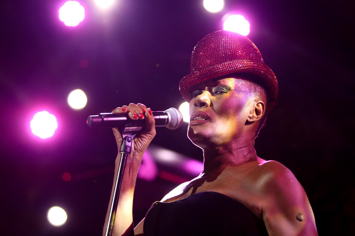 MEXICO CITY, MEXICO - FEBRUARY 05: Grace Jones performs during the amfAR gala dinner at the house of collector and museum patron Eugenio López on February 5, 2019 in Mexico City, Mexico. (Photo by Victor Chavez/Getty Images for amfAR)