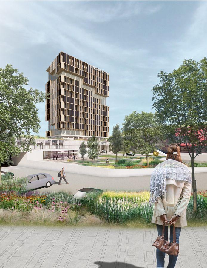 Tekening van het nieuwe hotel bij Pathé in Ede.