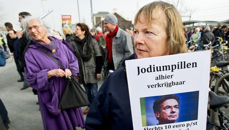 De actiegroepen WISE en Zeeuws Comite Borssele 2 Nee op een protestmars tegen kernenergie. Beeld anp