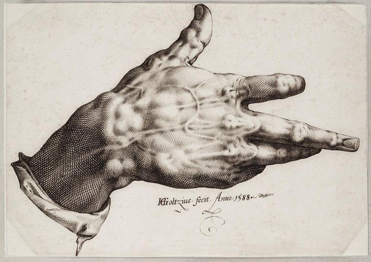Opgstoken middelvinger voor de beurs in Milaan. Maurizio Cattelan, 2011. Beeld Teyler's Museum / Martijn Zegel
