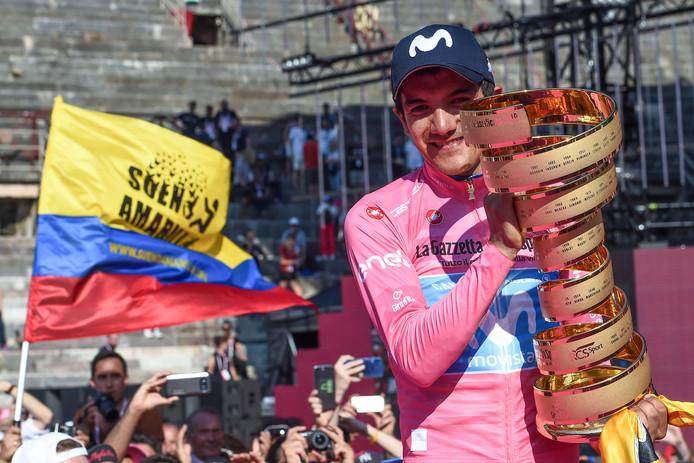 Richard Carapaz vierde met winnen van de Giro begin juni al een Colombiaans feestje.