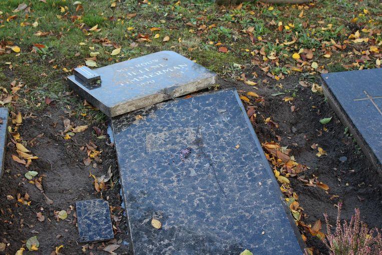 Verschillende graven werden vernield op het kerkhof Sint-Kruis.