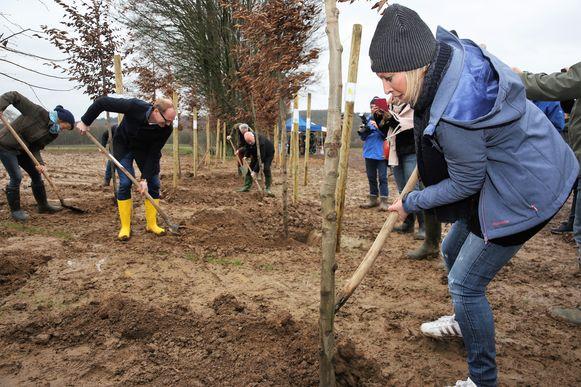 Roos Van Acker plantte samen met onder andere Vlaamse ministers Ben Weyts (N-VA) en Koen Van den Heuvel (CD&V) een boom aan in het nieuwe Hallerbos.