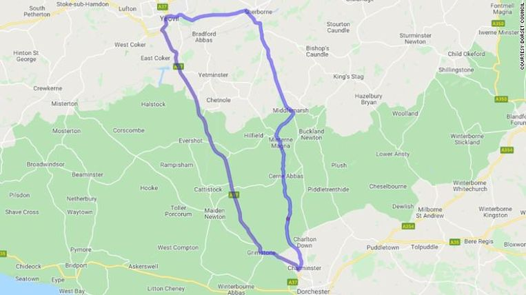 Wie van het graafschap Dorset naar Somerset wil rijden, wordt omgeleid. Die omleiding bedraagt maar liefst 66 kilometer.