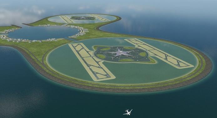 Een artist impression uit het plan dat baggeraars Van Oord en Royal Haskoning in 2008 maakten voor een Schiphol in zee