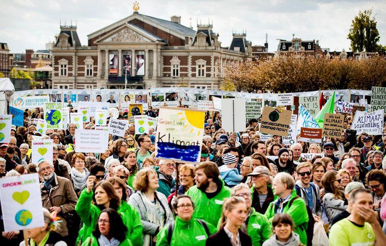 Demonstranten op het Museumplein. Beeld anp