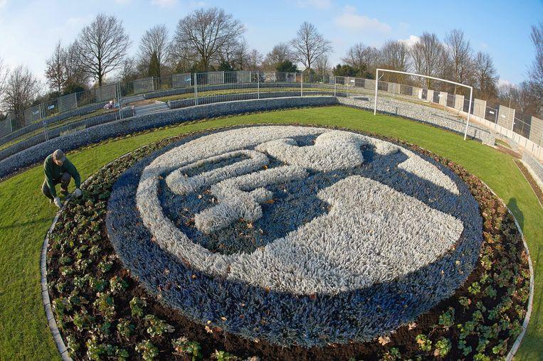 Het bloemperk op de begraafplaats voor supporters van FC Schalke 04. Beeld anp