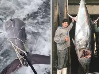 """Tieners vangen gigantische tonijn: """"Wat een beest"""""""