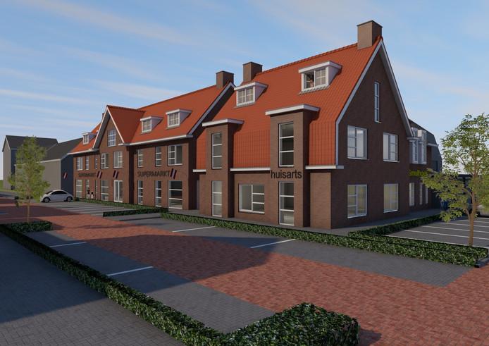 Zo moet de nieuwe supermarkt, huisartsendependance en appartementen op de hoek van het Sint Josephplein en het Kerkepad in Venhorst eruit gaan zien.