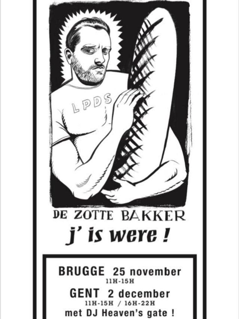 Met dit kaartje worden de klanten warm gemaakt voor het feest in de Brugse en Gentse vestiging.