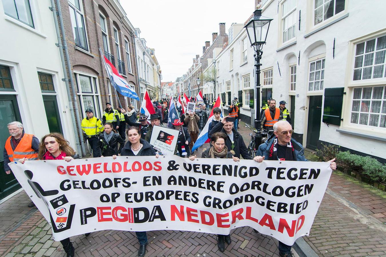 De groep demonstranten op de Springweg