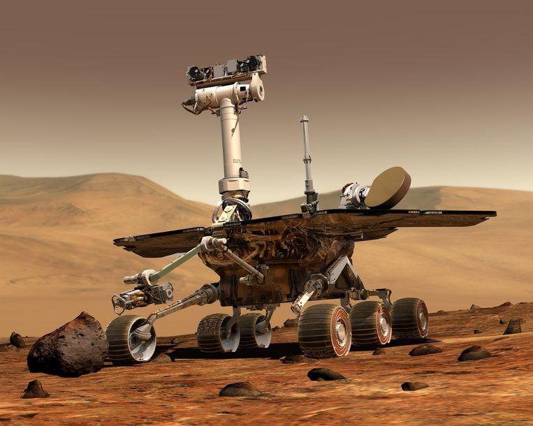 Tekening van Marskarretje Opportunity op het oppervlak van Mars. Beeld Nasa