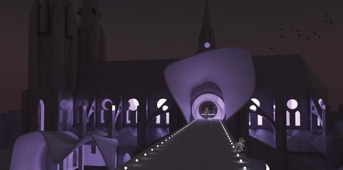 De Catharinakerk in Eindhoven met bijzondere verlichting en open aan de zijkanten. Dat werd het winnende ontwerp van team 6.
