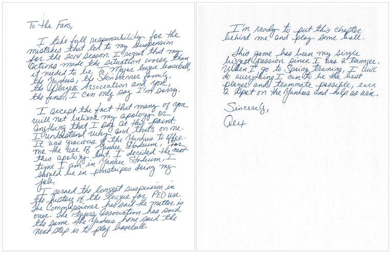 De brief van Rodriguez. Beeld ap