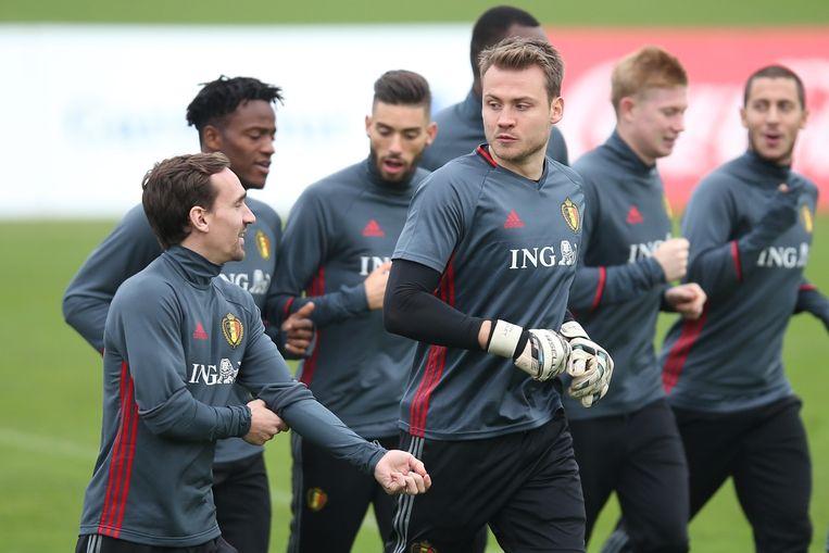 De Belgische ploeg, bijgenaamd De Rode Duivels, traint. Beeld belga
