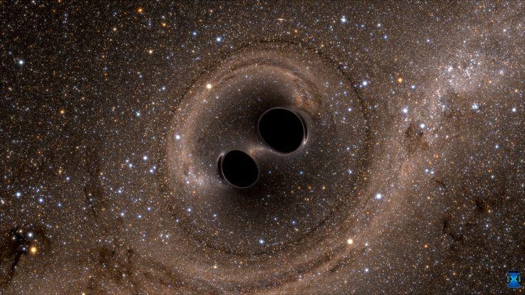 Illustratie van de botsing van twee zwarte gaten. Beeld National Science Foundation