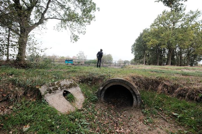 De Ormelbeek, een zijtak van de Kiezersbeek, in het buitengebied van Aalten staat volledig droog.