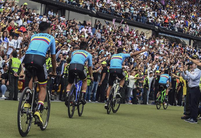 De nationale selectie van Colombia wordt gepresenteerd.