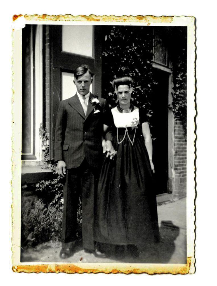 Trouwfoto Jan en Maria, 1938. Beeld .