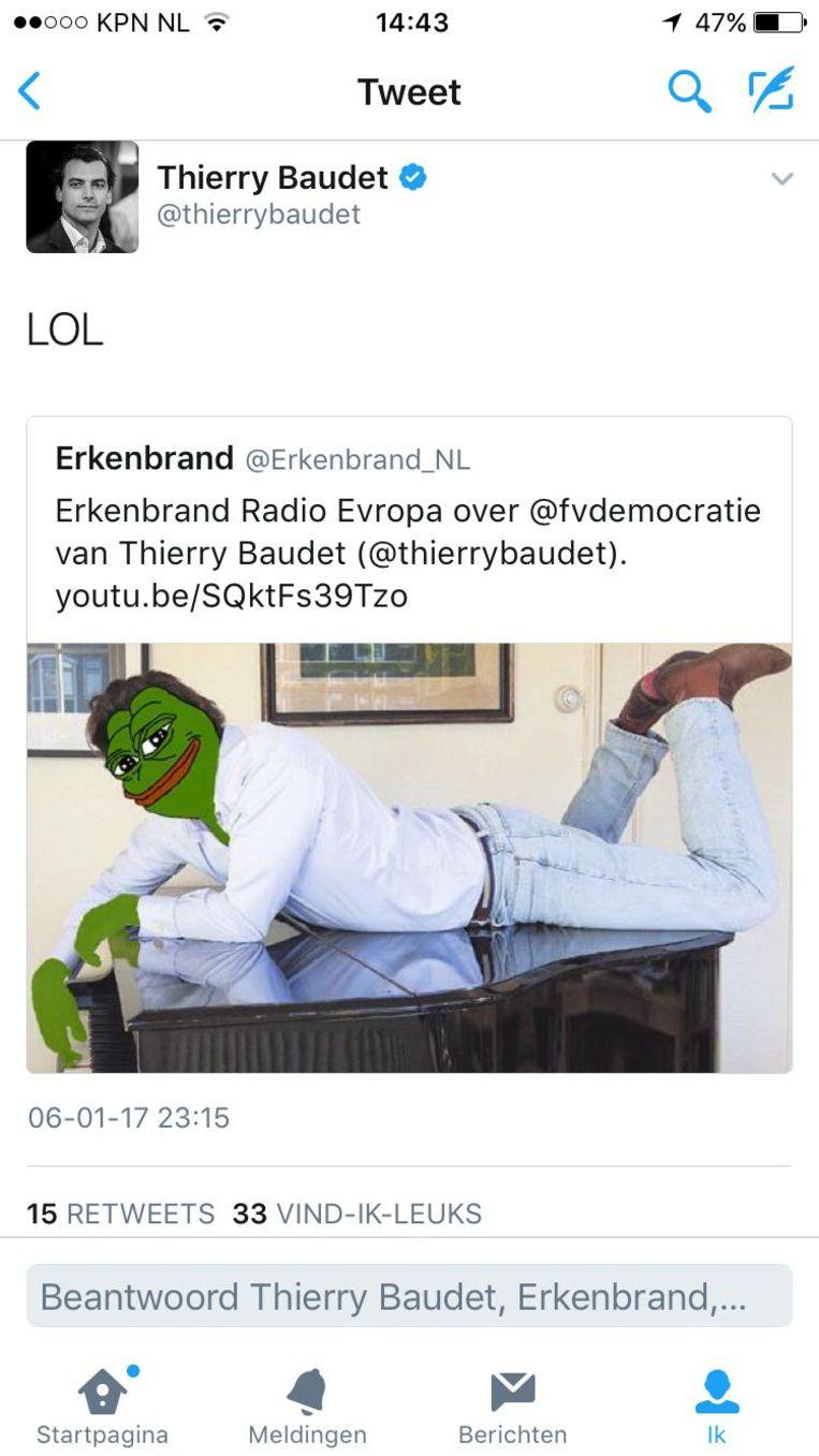 De retweet van Forum voor Democratie-leider Thierry Baudet van een bewerkte foto van Erkenbrand. Beeld .