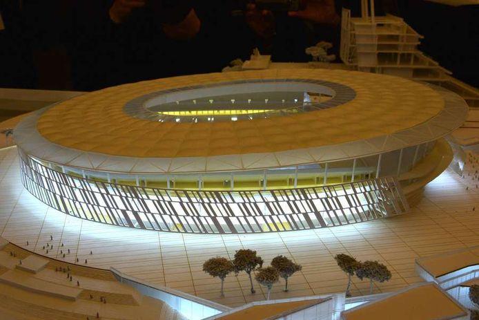 Artist impression van het nieuwe stadion van AS Roma, ontworpen door architect Dan Meis.