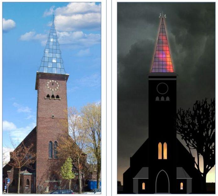 Het door de buurt gekozen ontwerp voor een nieuwe spits voor de toren van de voormalige Sacramentskerk.