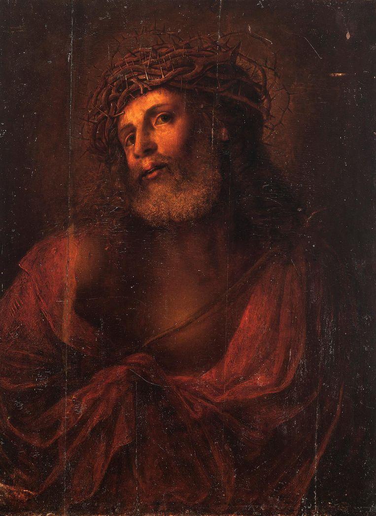 Christus de Verlosser (circa 1545) voor restauratie en schoonmaak. Beeld