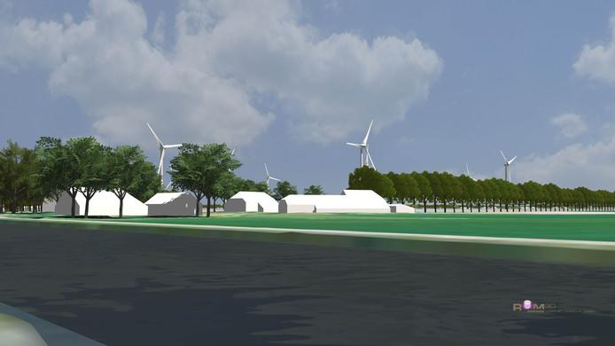 Visualisatie van het zicht op de windmolens op 1 km afstand bij het Ommerkanaal.