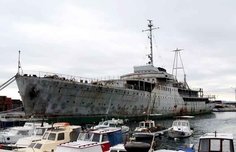 De Galeb in de haven van het Kroatische Rijeka. Beeld AFP
