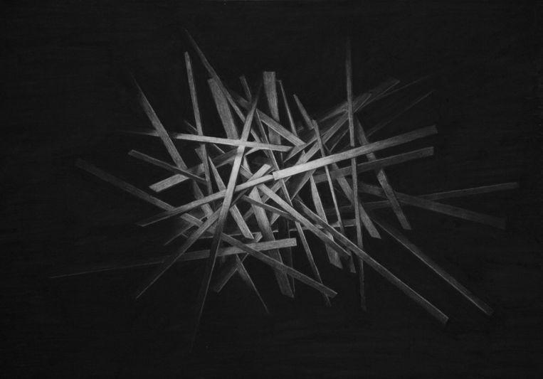 Levi van Veluw: Structure I, 2014 (houtskooltekening). Beeld -