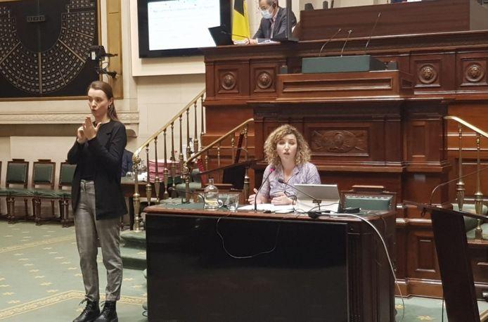 Sarah Schlitz (Ecolo), mardi dernier lors de la présentation de sa note de politique générale à la Chambre.