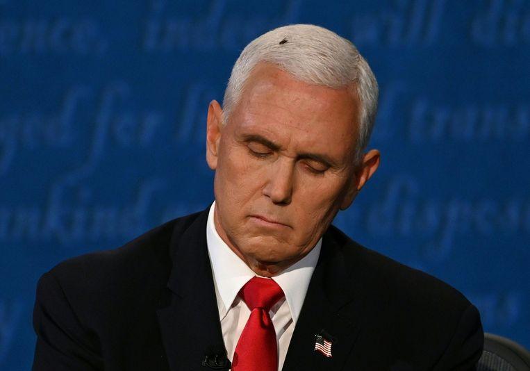 Een vlieg op het hoofd van de Amerikaanse vicepresident Mike Pence. Beeld AFP