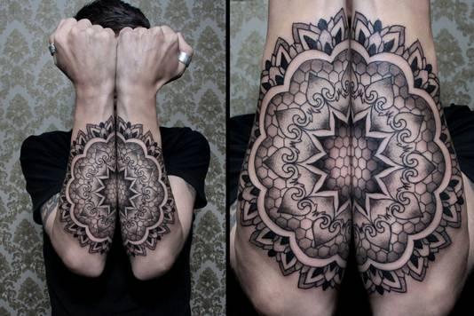 Een voorbeeld van een zogenoemde sacred geometry tattoo.