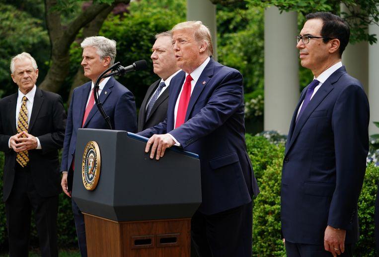 President Trump kondigde vrijdagavond op een persconferentie aan definitief de banden met de WHO te verbreken. Beeld AFP