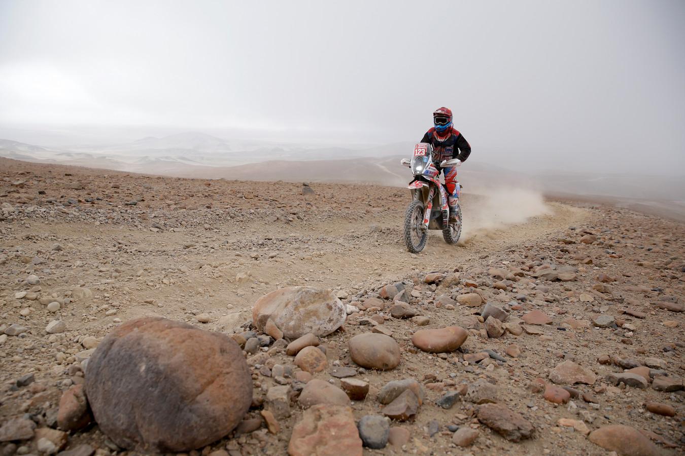 Mark Tielemans tijdens de derde etappe van de Dakar Rally.