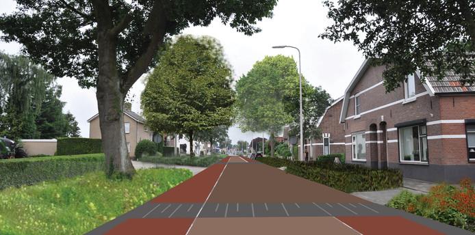 Een sfeerimpressie van de Almelosestraat in Raalte zoals die er na de vernieuwing in 2020 uitziet.
