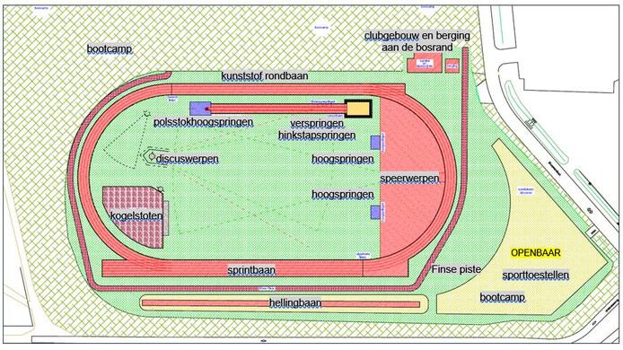 Het plan voor de vernieuwde accommodatie van Oirschot Atletiek.