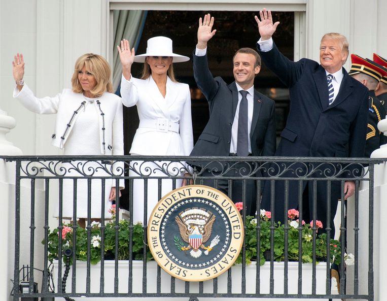 De Franse en Amerikaanse presidentiële paren.