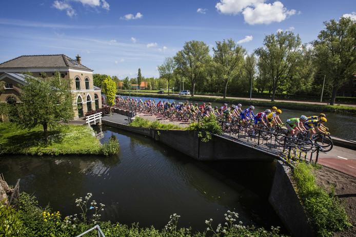 Het peloton langs De Vliet in Rijswijk.