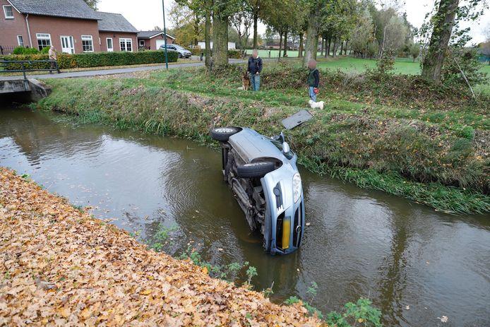 Aan de Korte Striep in Sint Anthonis is een automobilist in een sloot beland.