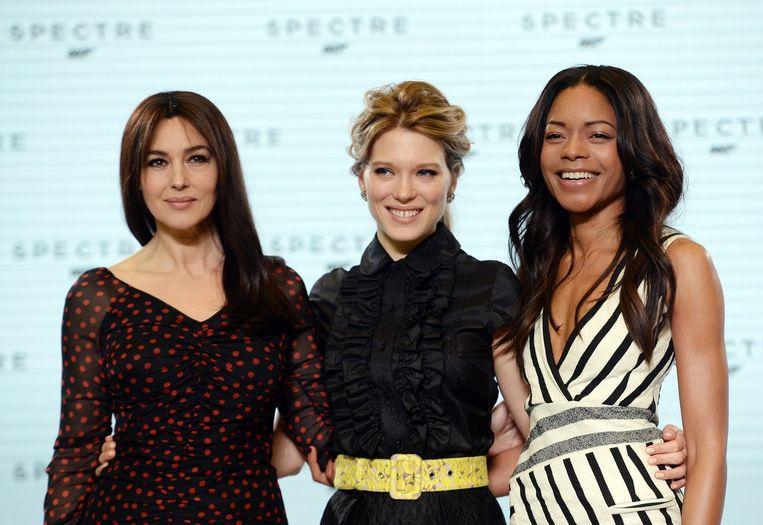 Van links naar rechts: Monica Bellucci, Lea Seydoux en Naomie Harris. Beeld epa