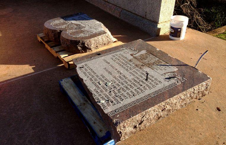 Ook in Oklahoma City vernielde Michael Tate Reed in 2014 een gelijkaardig monument.