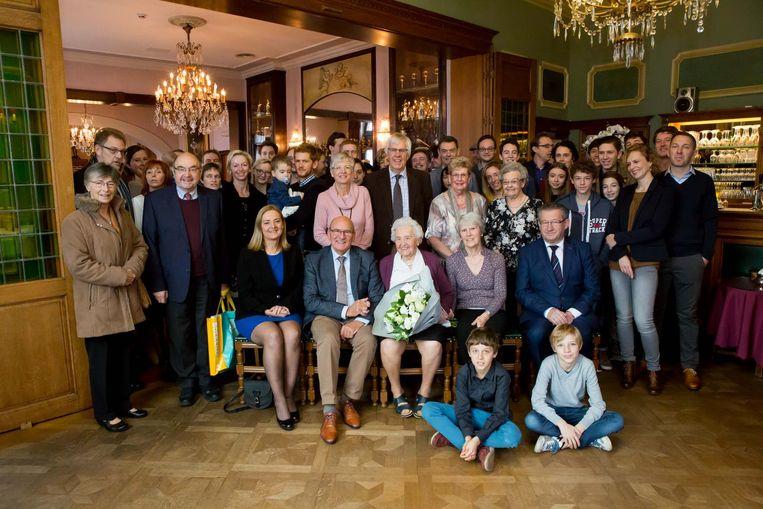 Celestina Verrept, hier tijdens de viering van haar 105de verjaardag.