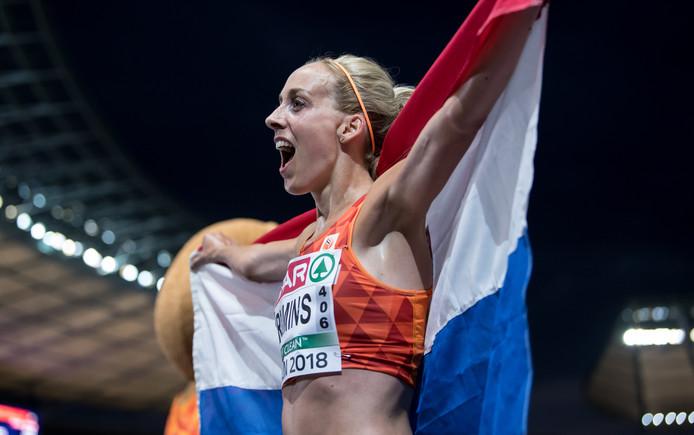Susan Krumins na haar memorabele race in Berlijn waar ze zilver veroverde op het Europees kampioenschap.