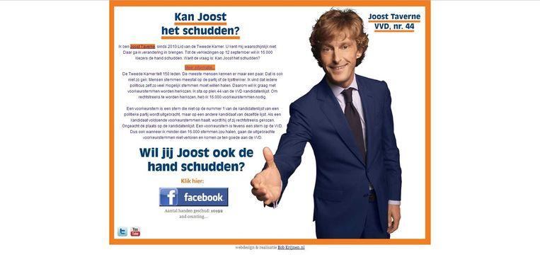 De poster die Joost Taverne in stelling bracht toen hij in 2012 met voorkeursstemmen in de Tweede Kamer probeerde te komen. Beeld null