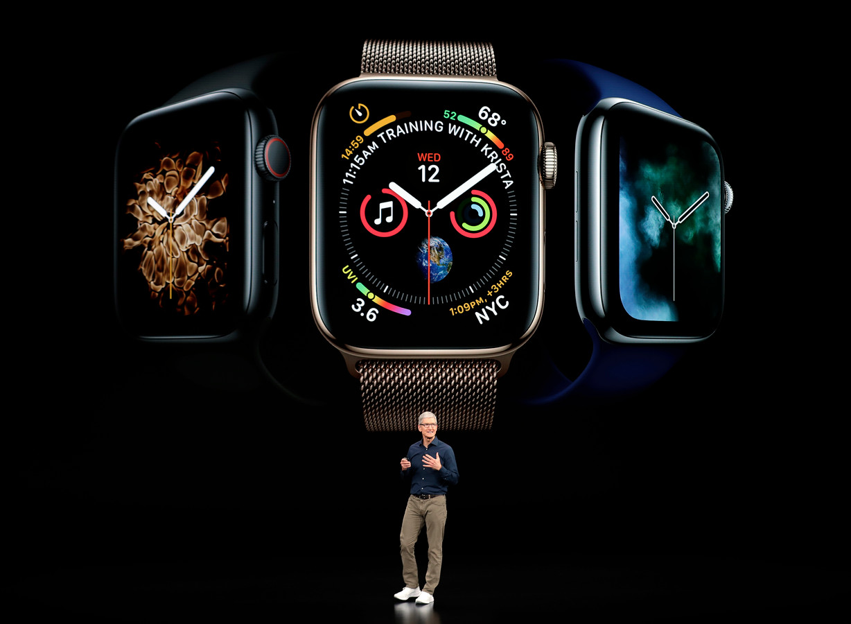 Topman Tim Cook  die de nieuwe Apple Watch 4 presenteert